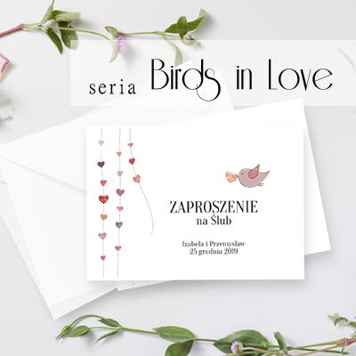 Zaproszenia ślubne - Birds in Love