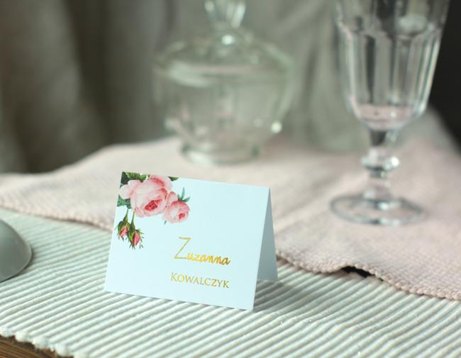 Winietki weselne złocone Pink & gold
