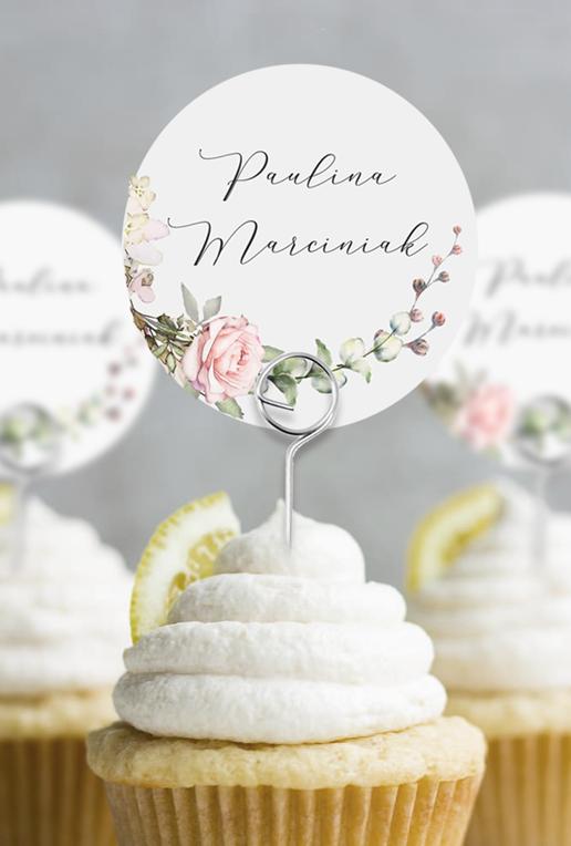 Okrągłe winietki weselne na druciku Wianek Vintage