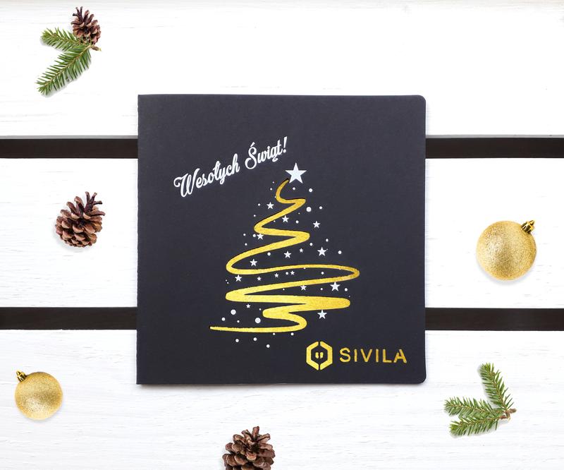 Kartki świąteczne laserowe z choinką i białym nadrukiem