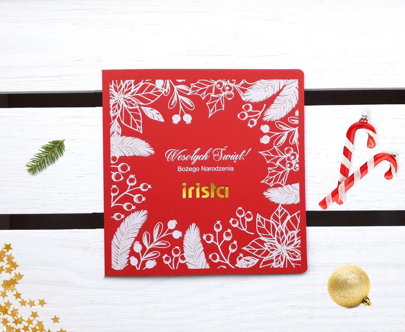 Kartki świąteczne z białym nadrukiem i logo firmy