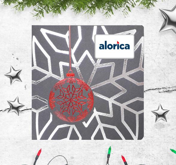 Karnety bożonarodzeniowe z czerwoną metalizowaną bombką i wysrebrzonym płatkiem śniegu