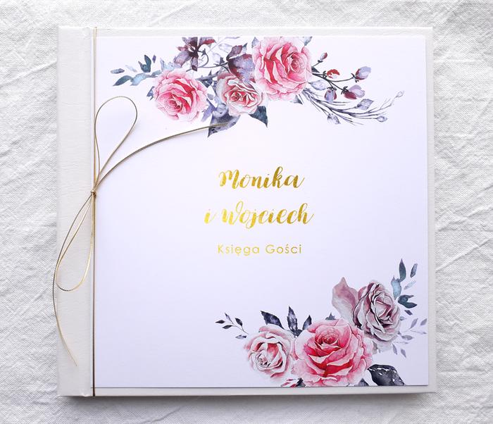 Księga gości weselnych  - Malowane róże