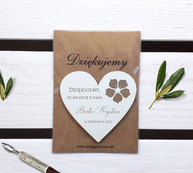 Magnesy ślubne drewniane - Rustykalne kwiaty