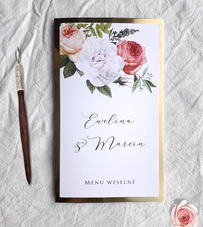 Menu weselne - Boho & glamour (złoty papier)