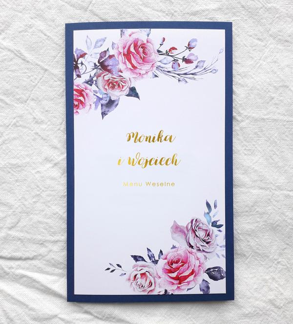 Menu weselne - Malowane róże (granatowo-kremowe)