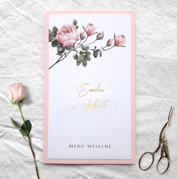 Złocone menu weselne - Pink & gold (różowo-złote)