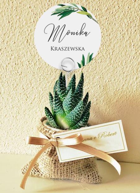 Okrągłe winietki weselne na druciku - Gałązka oliwna