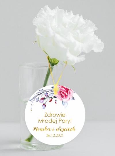 Okrągłe złocone zawieszki weselne - Malowane róże