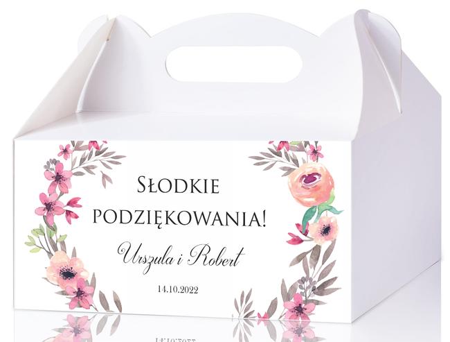 Pudełka na ciasto weselne - Szlachetny monogram