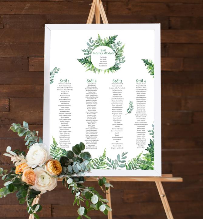 Rozmieszczenie gości weselnych - Paprocie