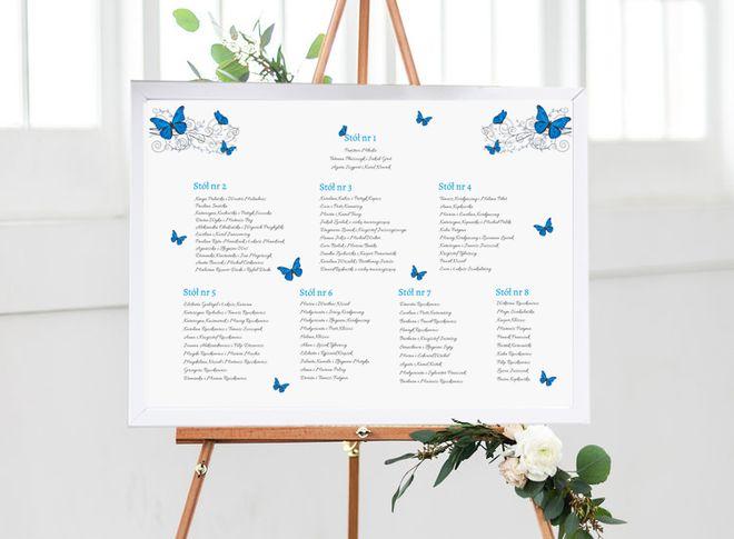 tablica z nazwiskami gości na wesele