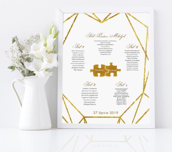 Rozmieszczenie gości weselnych w ramie - Puzzle