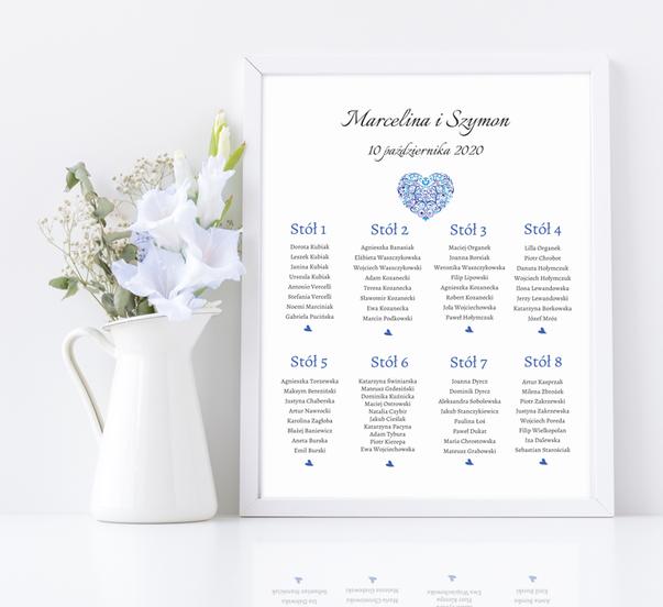 Rozmieszczenie gości weselnych w ramie - Niebieskie serce 107