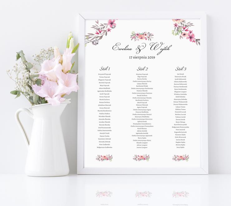 Rozmieszczenie gości weselnych w ramie - Szlachetny monogram