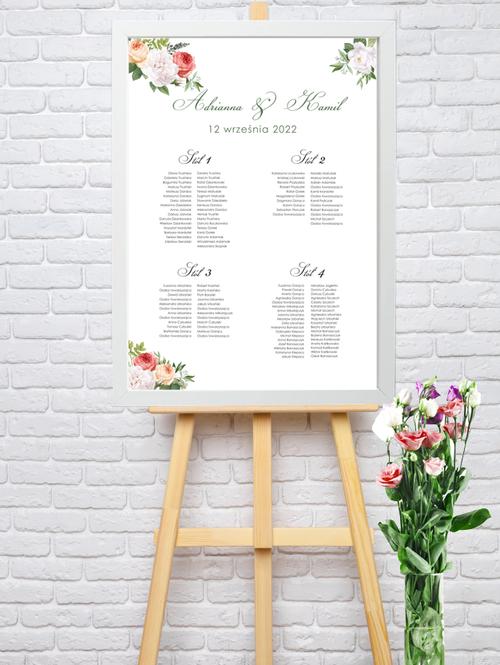 Rozmieszczenie gości weselnych w ramie - Tablo