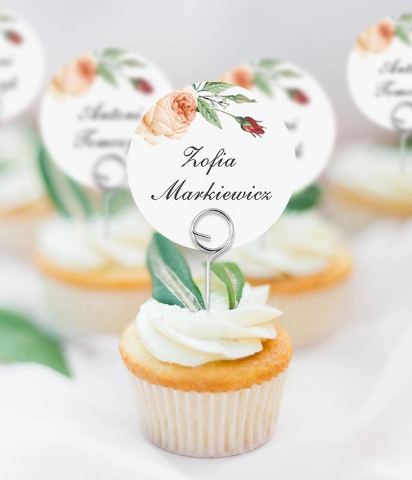 Okrągłe winietki weselne na druciku Boho & glamour