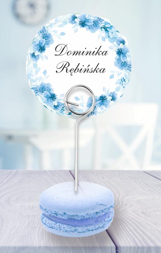 Okrągłe winietki na druciku - Błękitne kwiaty PEGGY BROWN