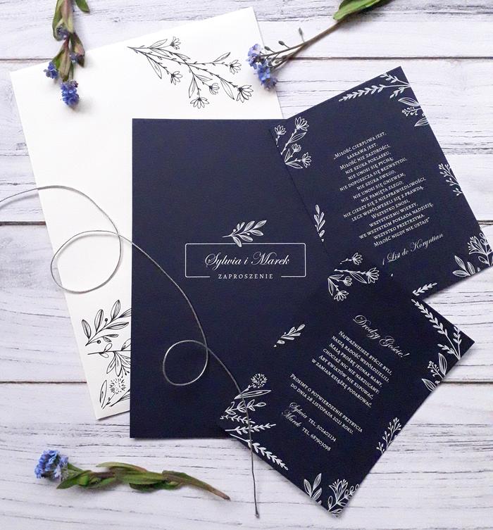 Zaproszenie ślubne z białym nadrukiem - Kwiat nocy letniej