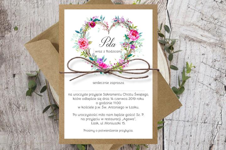 Zaproszenia na chrzest - Wianek serce z kwiatów EKO