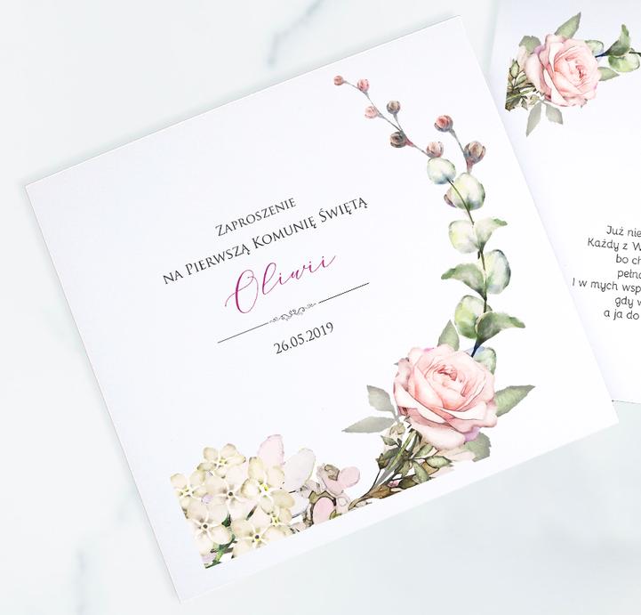Zaproszenia na Komunię Świętą akwarele - róża i hortensje