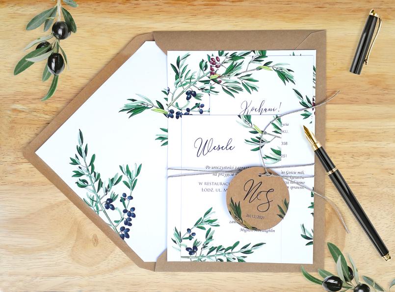 Zaproszenia ślubne - Gałązka oliwki