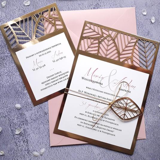Zaproszenia ślubne z zawieszką - Ażurowe złote liście