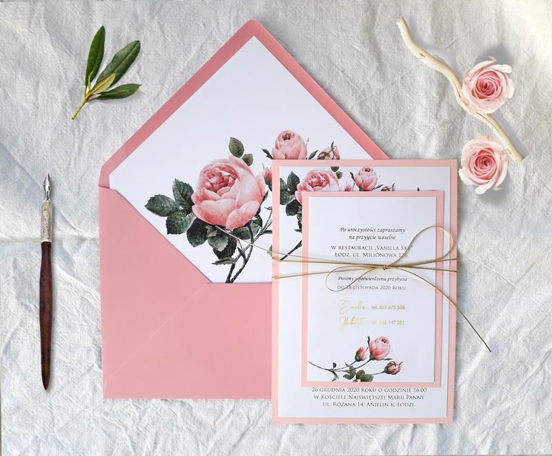 Złote zaproszenia ślubne - Pink & gold