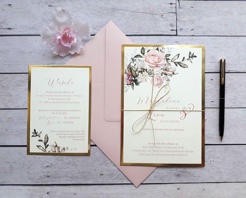 Złote zaproszenia ślubne - Wianek vintage (glamour)