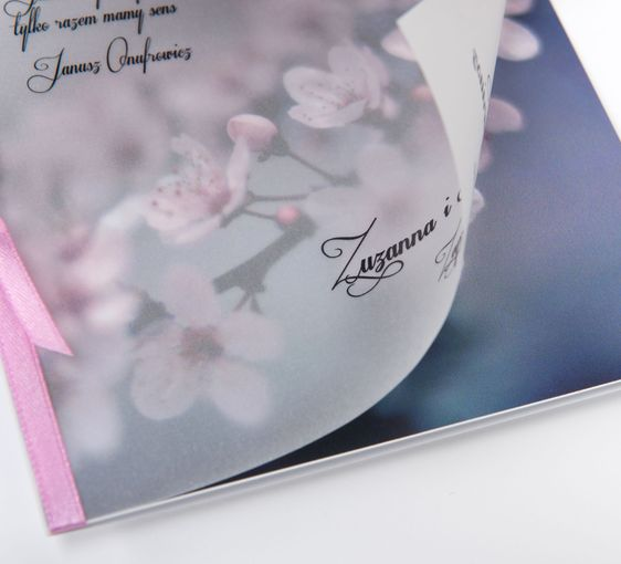 Zaproszenia ślubne z kalką - Kwiat jabłoni