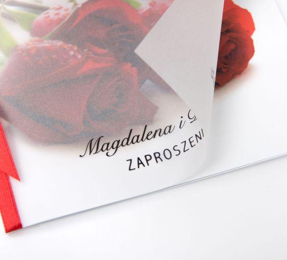 Zaproszenia ślubne z kalką - Bordowe róże