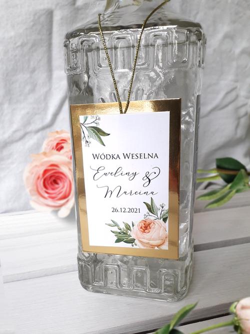 Złote zawieszki na butelki weselne ze złotym sznurkiem - Boho & glamour